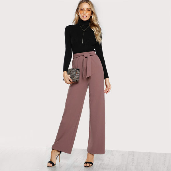 Pink High Waist Casual Pant