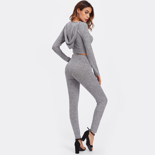 Grey Long Sleeve Two Piece