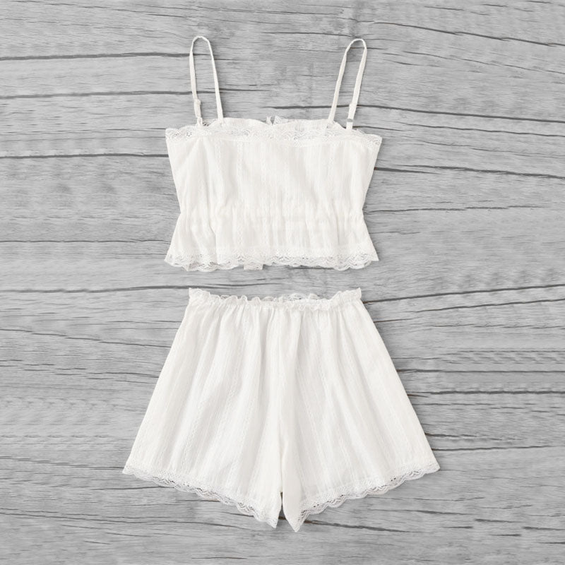 Scallop Lace Trim Cami Pajama Set