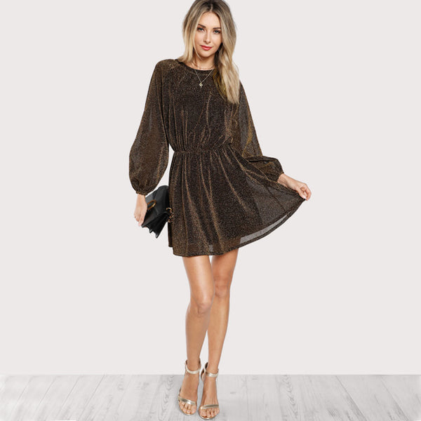 Bishop Sleeve Mesh Sequin Transparent Dress