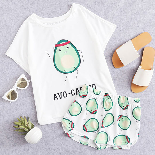 Cartoon Avocado Print Tee and Short