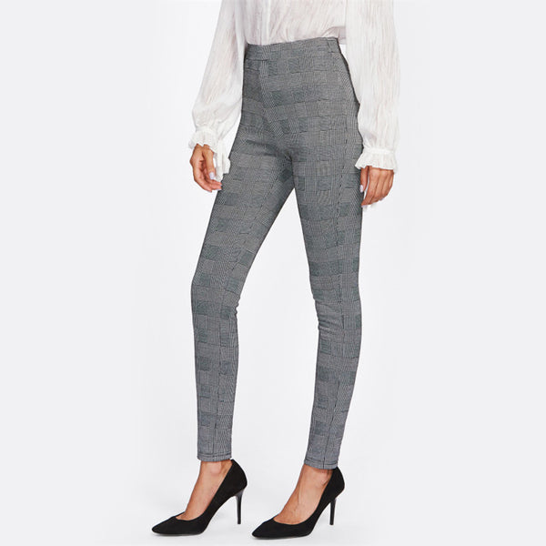 Grey Plaid High Waist Pant