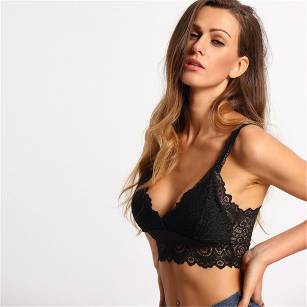 Sexy Scallop Wide Strap Lace Top
