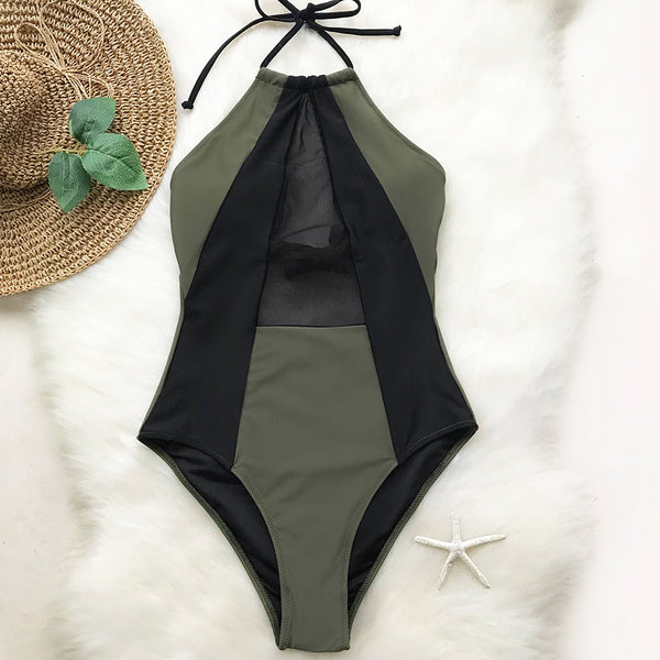 Army Green And Black Mesh Halter One-piece