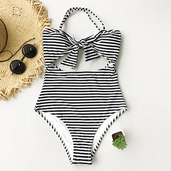 Stripe Halter One-piece