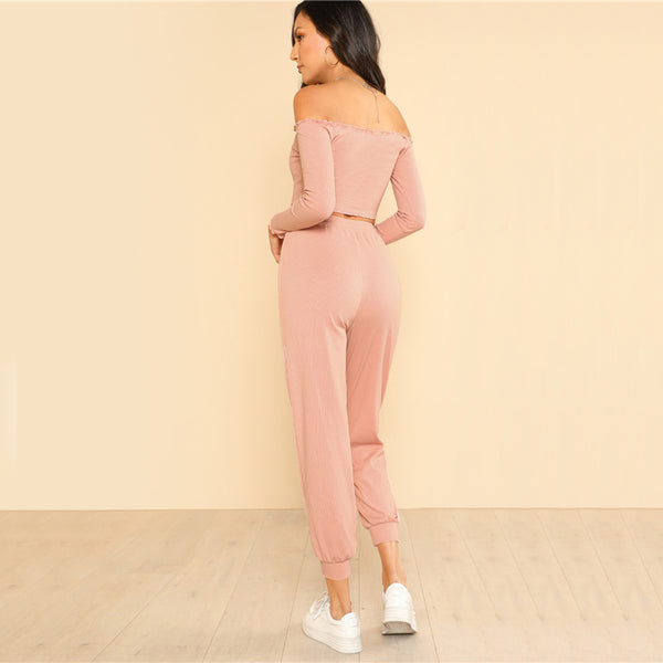 Pink Casual Two Piece