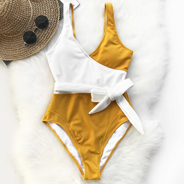 Yellow And White Colorblock One-piece