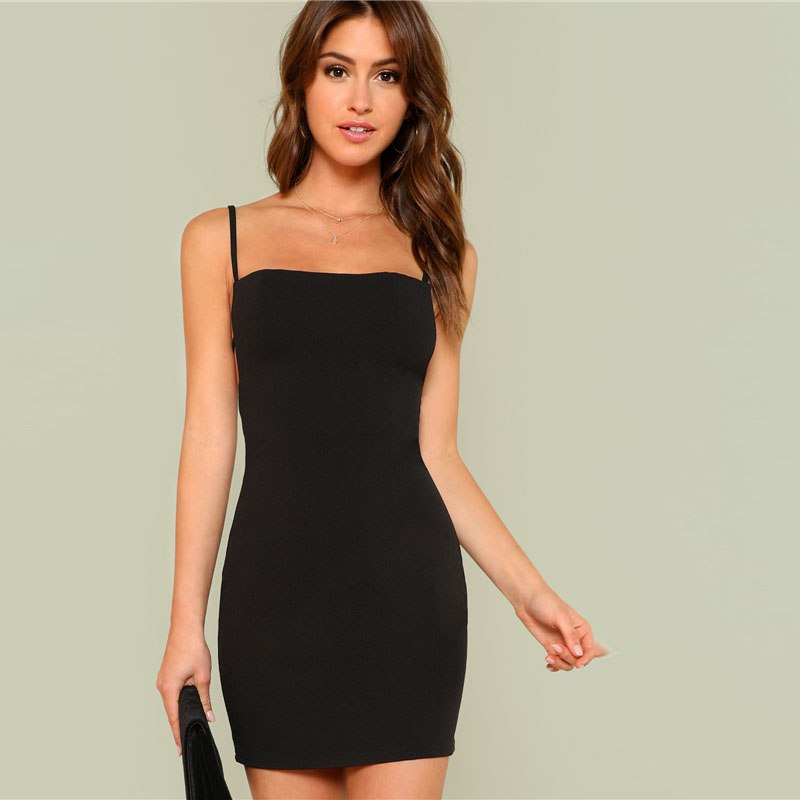 Knot Back Solid Cami Dress