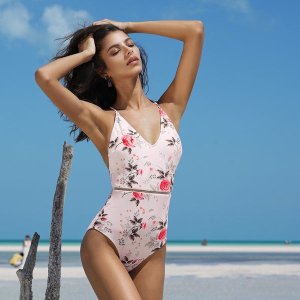 Pink Floral Print One-piece