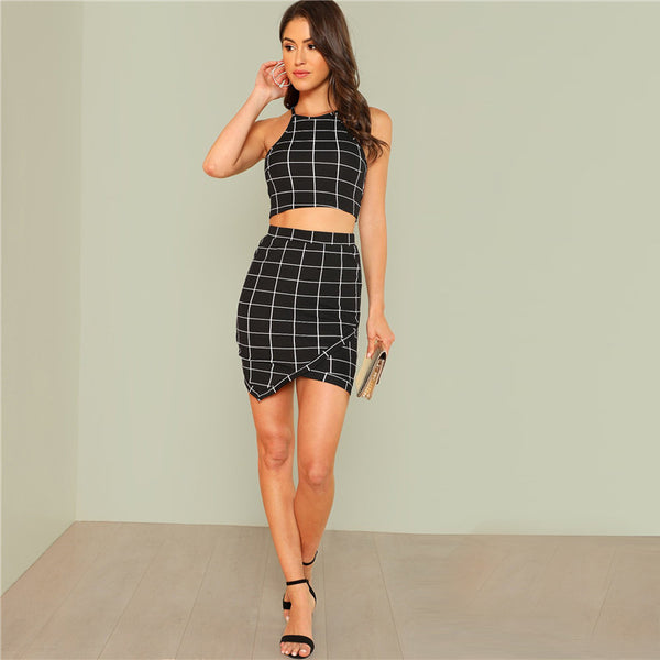 Outfits Plaid Grid Crop Halter Top & Wrap Skirt