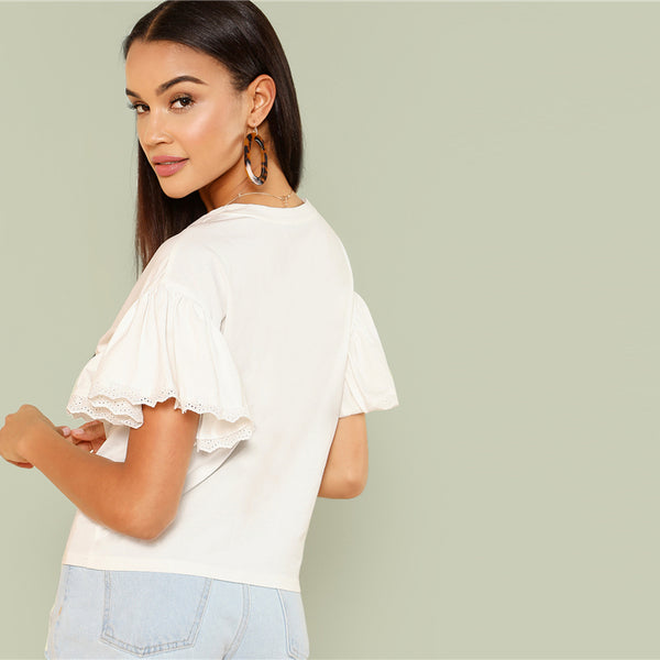 Trim Ruffle Short Sleeve Solid T-shirt
