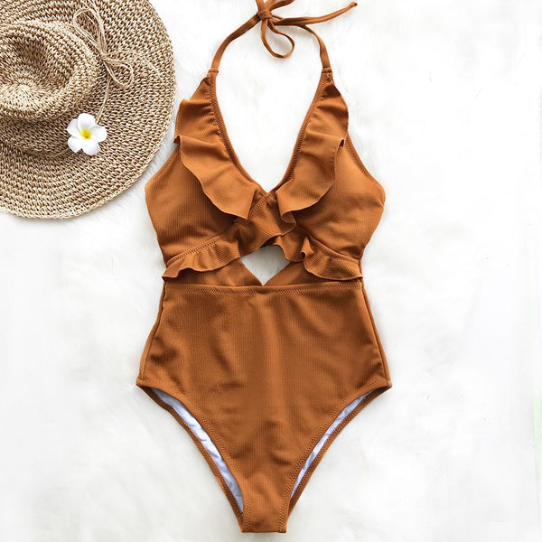 Brown Ruffle Solid One-Piece