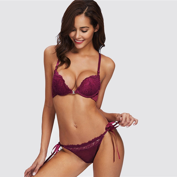 Tie Side Criss Cross Lace Sexy Bra Set