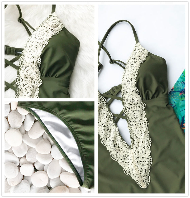 Lace Splicing Back Hook Closure One-piece