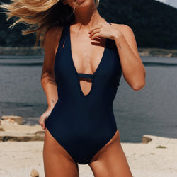 Dark Blue Cross Solid One-piece