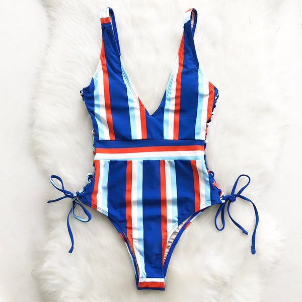 Lace Up Striped One-piece