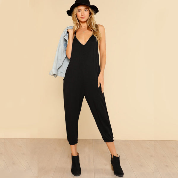 Black Casual Juımpsuit
