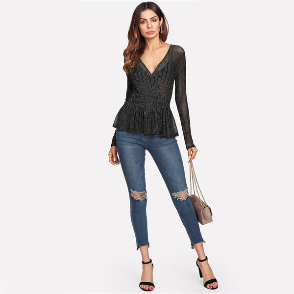 Deep V Neck Slim Fit Long Sleeve Blouse
