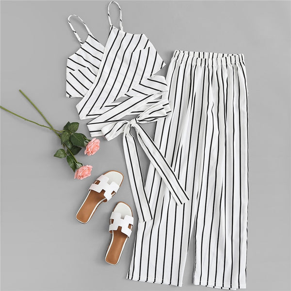 White Sexy Striped Knot Clothing Set