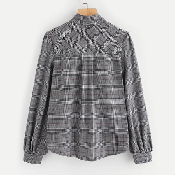 Grey Bow Tie Neck Blouse