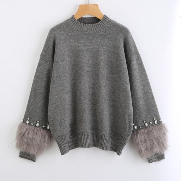 Faux Fur Embellished Sweater