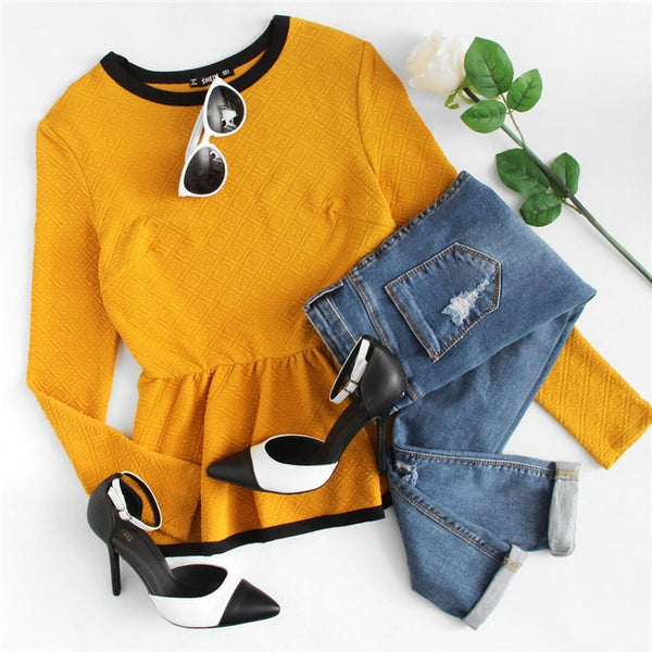 Yellow Long Sleeve Casual Blouse