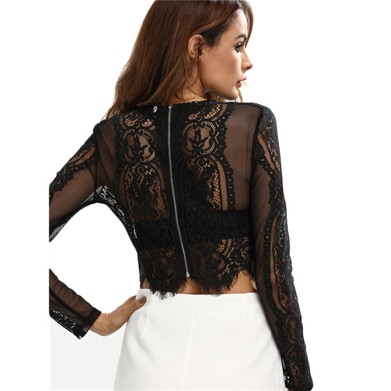 Lace See-through Crop Shirt
