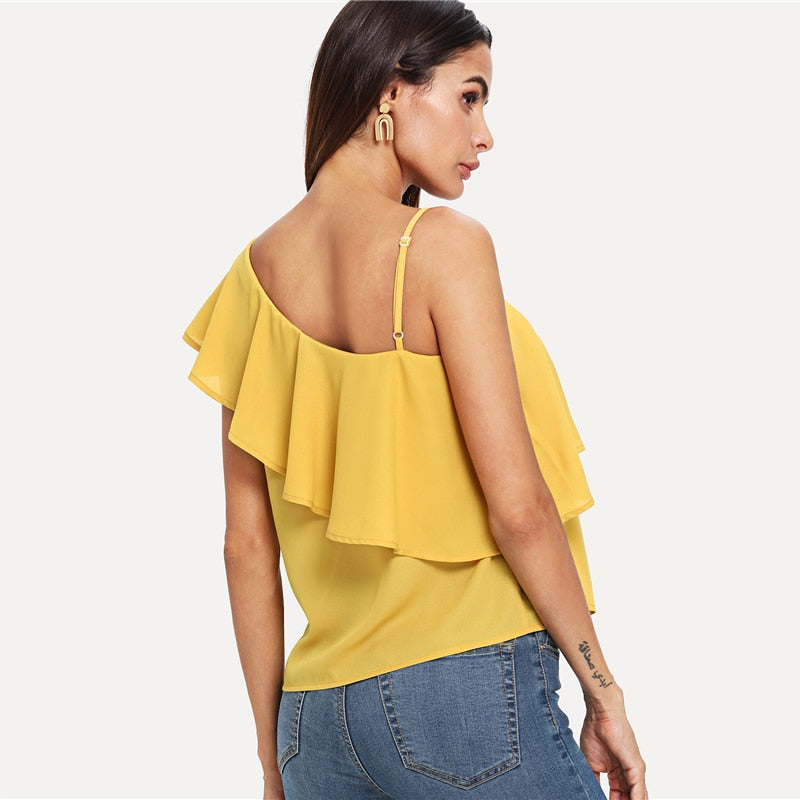 Party Elegant Asymmetrical Neck Solid Top