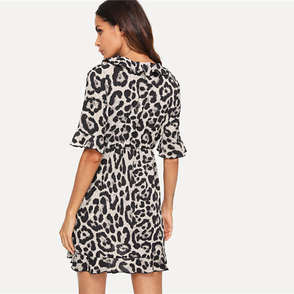 Leopard V Neck Short Sleeve Dress