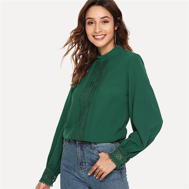 Green Long Sleeve Blouse