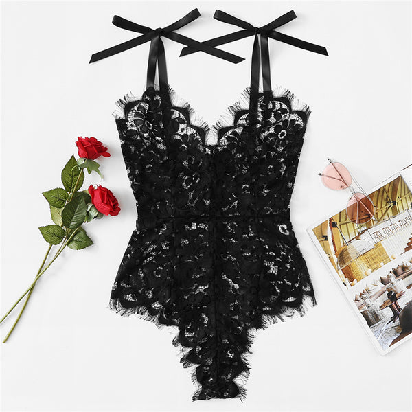 Black Sexy Eyelash Lace Teddy Bodysuit