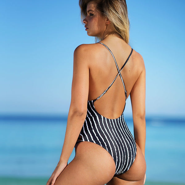 Crisscross Stripe One-piece Swimsuit