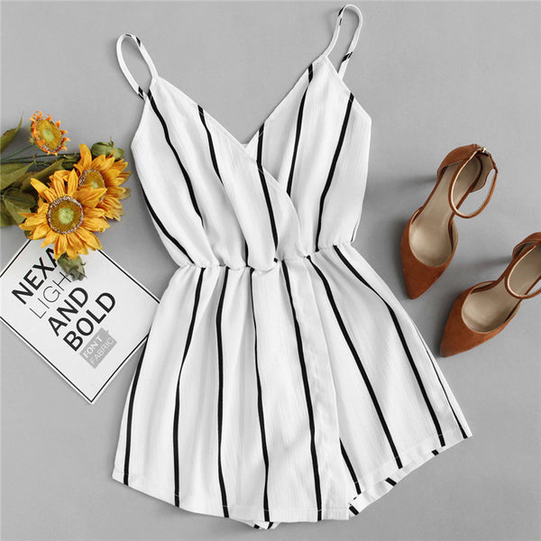Wrap Casual Vertical Striped Romper
