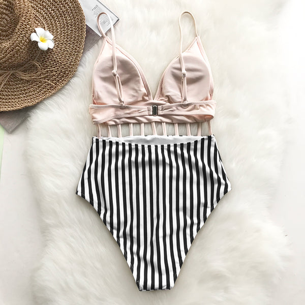 Pink V-neck Strap One-piece