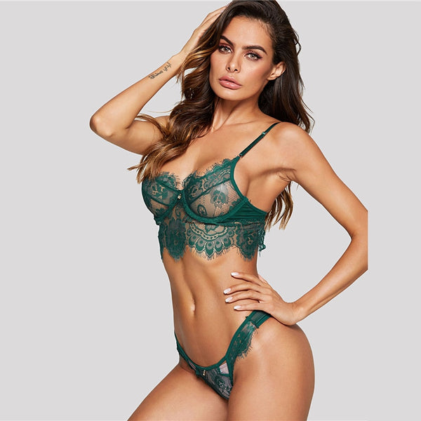 Green Wireless Eyelash Lace Floral Lingerie Set