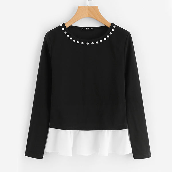 Pearl Beading Neck Blouse
