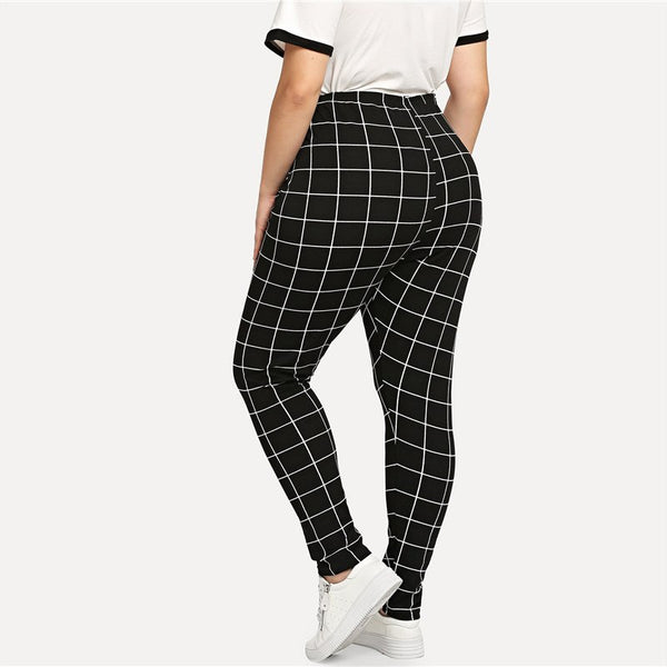 Black And White Plaid Plus Size Legging