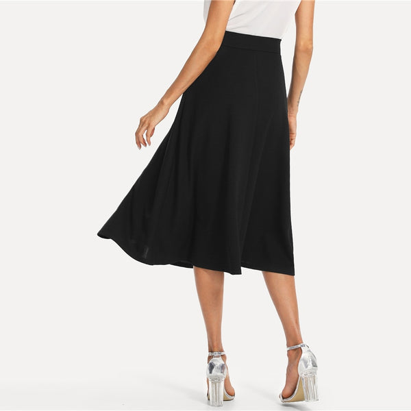 Black Mid Waist Long Skirt
