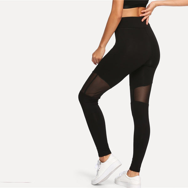 Black Casual Fitness Leggings