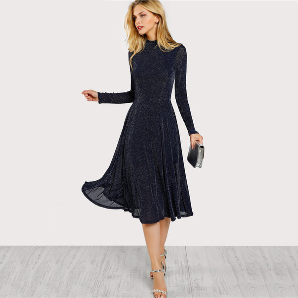 Long Sleeve Mock Neck Glitter Dress