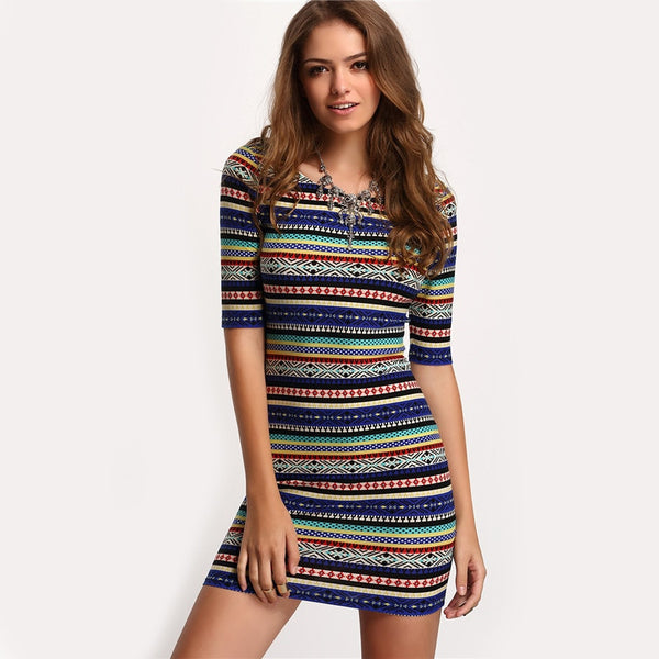 Vintage Print Round Neck Bodycon Dress