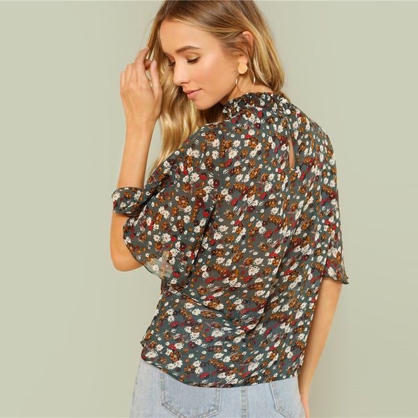 Multicolor Half Sleeve Casual Top
