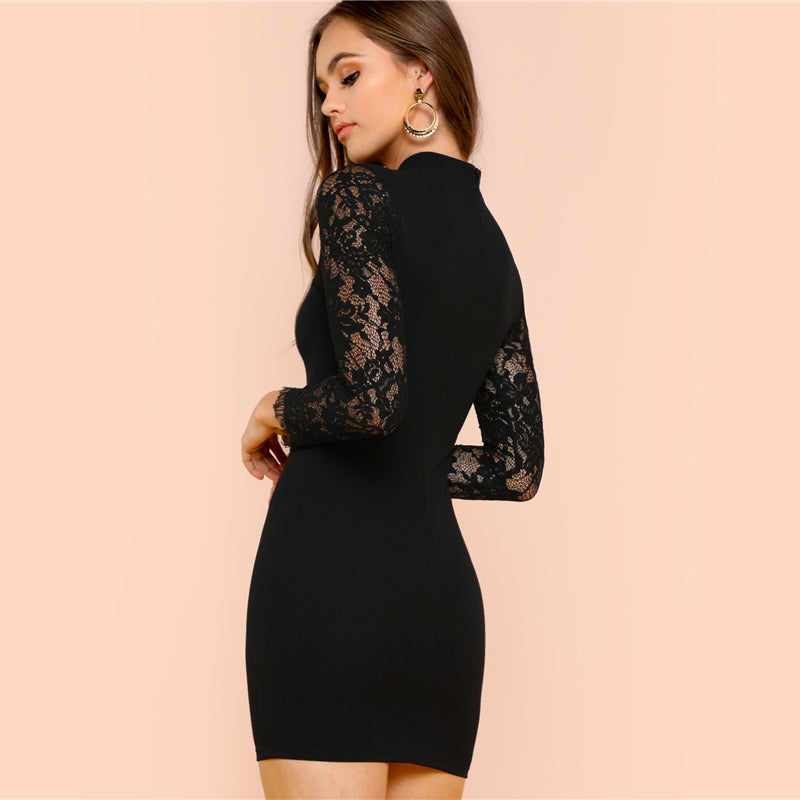 Black Lace Insert Solid Form Fitting Dress