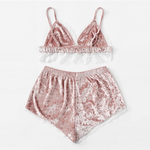 Pink Lace Trim Pajama Set
