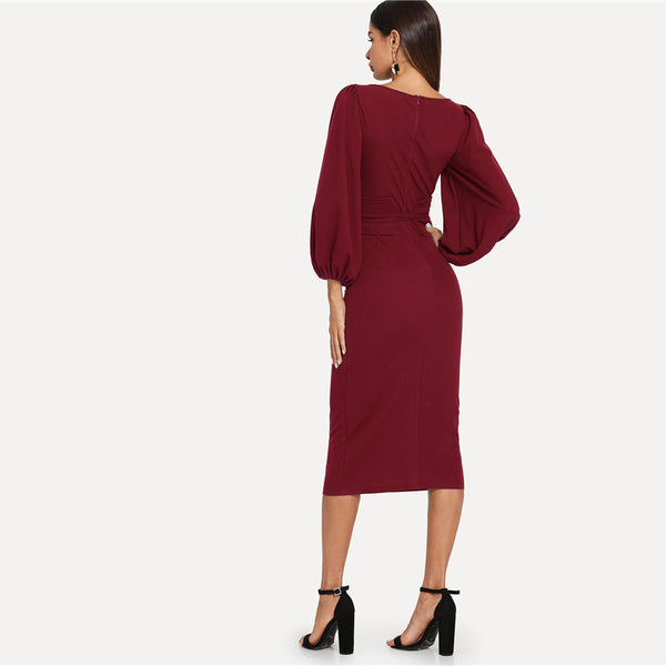 Burgundy Lantern Sleeve Dress