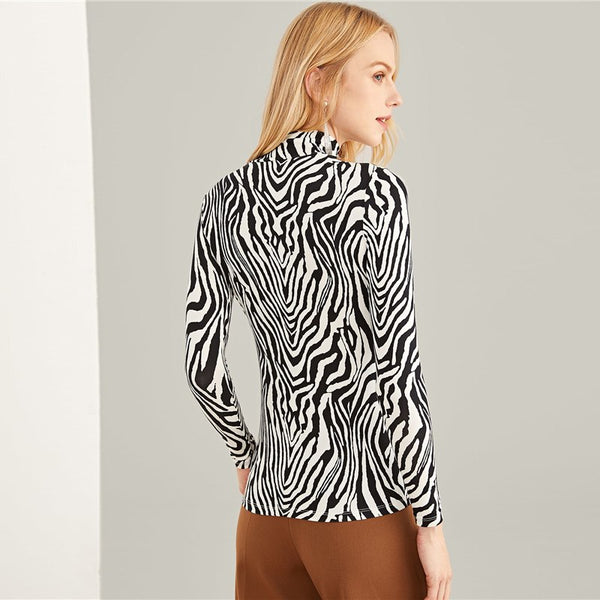 Black And White Zebra Print Top