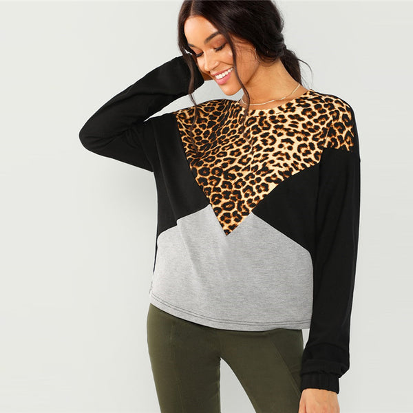 Leopard Casual Cut and Sew Pullover