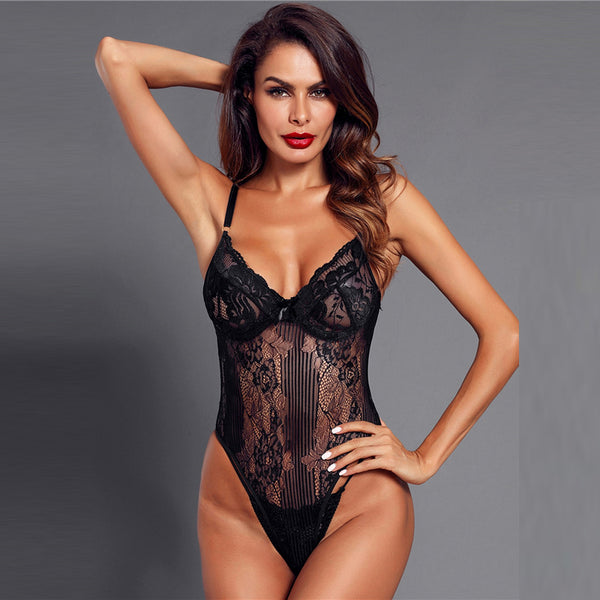 Black Solid Sexy Floral Lace Teddy Bodysuit