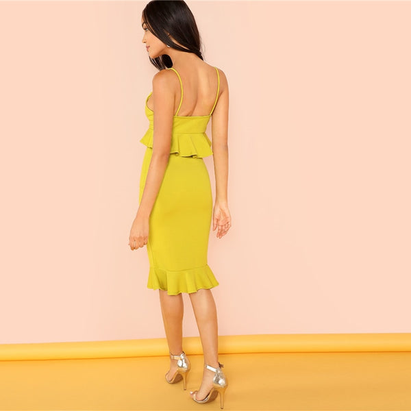 Mustard Ruffle Strapped Deep V Neck Sexy Dress