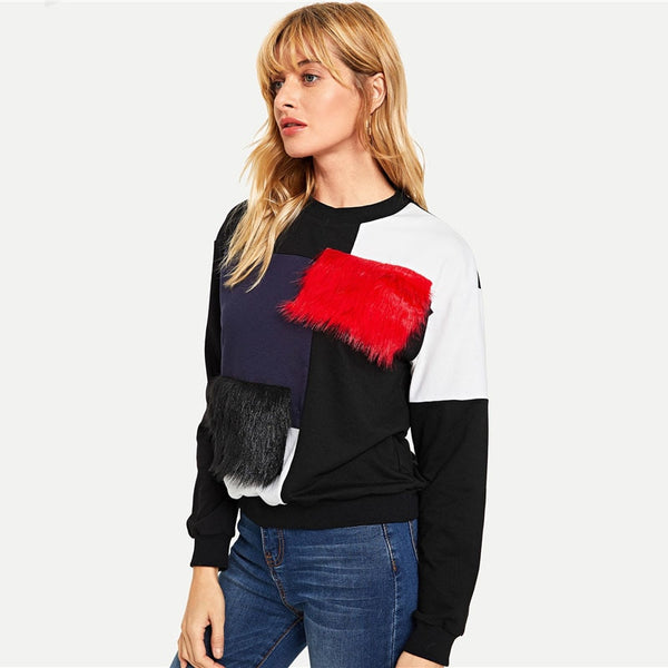 Multicolor Cut and Sew Faux Fur Sweatshirt